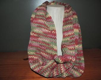 Infinity scarf, Variegated, Salmon, pinks, greens.