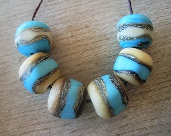 Lampwork Glass Beads 6 Glass Turquoise Etched Beads with fine silver accents