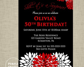 Red 50th 60th Birthday Invitation Red Surprise Party Invite Red flower bursts Adult Party Invite Printable JPG File Invite (356)