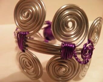 Grey and purple aluminium Cuff Bracelet