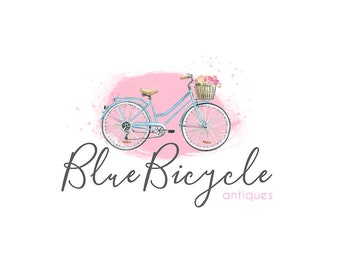 Watercolor Business Logo, watercolor design, photography, watermark, painted, bicycle, bike - Newborn photography logo, maternity logo
