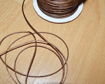 Set of 10 meters of waxed cord coffee polyester 1 mm