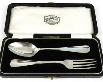 Vintage Cased Christening Set, Sterling Spoon and Fork, Barker Brothers, Rat Tail, Mid Century, Travelling Cutlery, 1955 and 1957, Unique