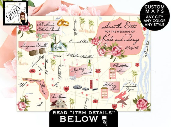 Save The Date Maps - Custom Wedding Map, destination wedding, florida map, customizable any theme, color, style. PRINTABLE 7x5 Gvites.