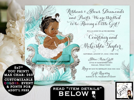 Blue and silver baby shower invitations, ribbons and bows, diamonds and pearls, vintage baby, printable ethnic, turquoise blue, silver white