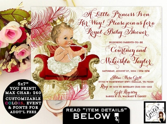 Red and gold baby shower invitations, princess is on the way, vintage elegant baby girl invites, gold crown, beige ivory red gold, 7x5