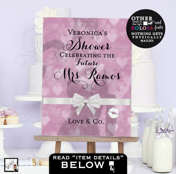 Bridal Shower sign, poster wedding signage reception, Audrey Hepburn party theme, bokeh hearts lilac lavender purple, customizable.