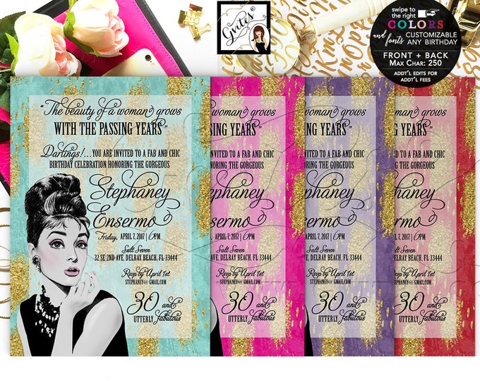 Audrey Hepburn 30th Birthday Invitations, Breakfast at themed, Turquoise Blue and Gold, Red Gold, Purple Gold, Pink Gold, Double Sided 5x7""