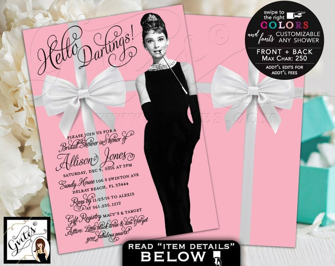 Pink Breakfast at Tiffany's Bridal Shower Invitations, Audrey Hepburn invitation, little black dress, 5x7 double sided. Digital File Only!