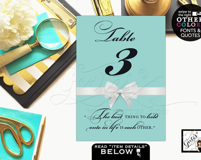 Breakfast at Tiffany's Table Numbers, Party Theme, table numbers Audrey Hepburn quotes or personal text, bridal shower, birthday, 4x6 or 5x7