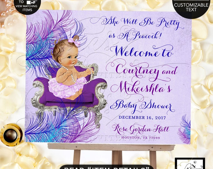 Baby Shower Welcome Sign, Peacock Purple Violet Blue, She Will Be Pretty As Peacock, Lavender, PRINTABLE vintage Girl #BSC13VBL