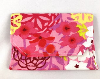 Pink floral snap wallet // notions pouch // slim pouch // slim wallet // coin purse // gift card holder // pill box // origami wallet