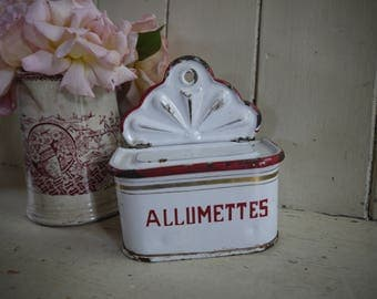 French Vintage Match Box - Allumettes - Candle Box - French Enamel