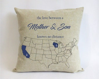 long distance mother son pillow case-mothers day gift from son-nautical birthday gift for mom-son Xmas gift-mom son love knows no distance