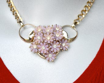 Lavender Thermoplastic Floral Assemblage Necklace with Vintage Components
