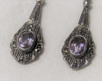 Elegant Vintage Amethyst, Marcasite and Sterling Drop Earrings - Post Back