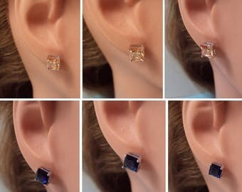 ON SALE White Gold Plated Colored Square CZ Stud Earrings