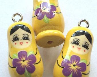 matryoshka charm yellow wooden for customization
