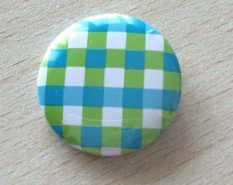 """badge 25 mm vintage """"green squares"""""""