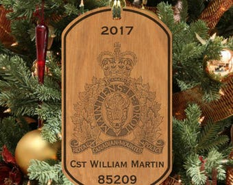 Royal Canadian Mounted Police Keepsake Ornament, Personalized FREE with Name! RCMP Mountie