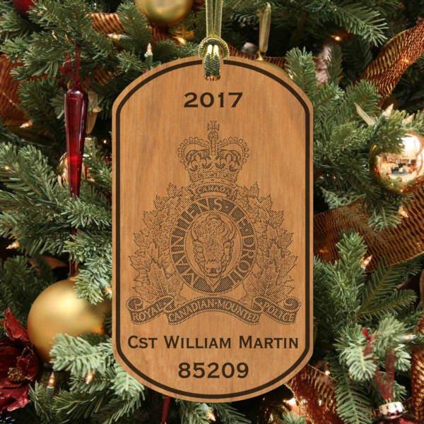Royal Canadian Mounted Police Keepsake Ornament Personalized