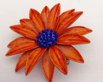 1960 Enamel Daisy Sunflower Brooch Orange and Blue