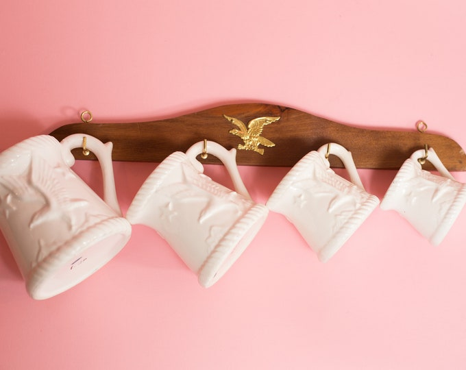Vintage Measuring Cups - White Ceramic American Eagle Mugs with Hanging Rack with Gold Eagle - American Kitsch