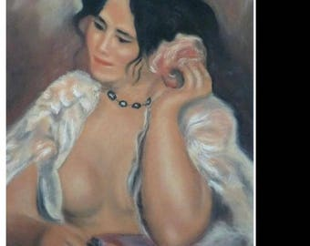 Woman with rose according Renoir painting Pastel wall