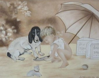 The child and his dog picture art chalk pastel painting