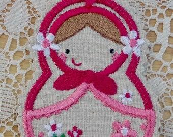 Christmas~Holiday~Gift~Decor~Ornament Traditional Russian Style Mamushka~ Matryoshka~Babushka Doll in Fuchsia & White Machine Embroidered