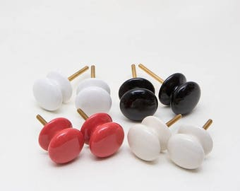 Set of 8 Trad Button Ceramic Knobs