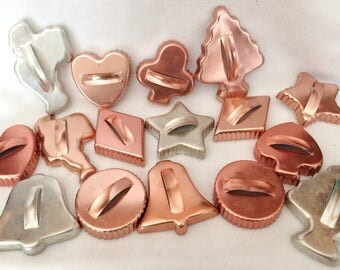 Lot of (16) Vintage Copper and Aluminum Cookie Cutters 1950's  Collectible Cookie Cutters