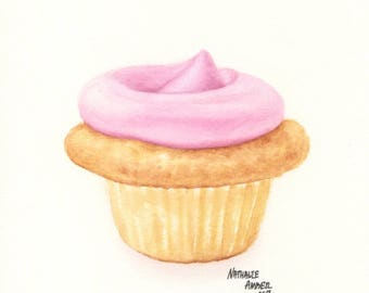 Rose Petal Cupcake - ORIGINAL Painting (Still Life Wall Art)