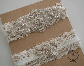 Wedding Garter, Bridal Garter Set, Vintage Garter, NO SLIP GARTER, Crystal Pearl Garter, Ivory Bridal Garter Set, White Bridal Garter Set
