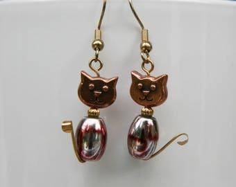 Copper Cat earrings