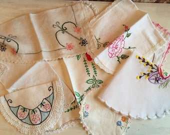 8 Assorted Embroidered Vintage Doilies