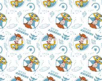 Disney Fabric Toy Story Fabric Woody Fabric in White From Camelot 100% Cotton