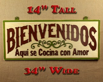 Welcome Cooked With Love Bienvenidos Aquí se Cocina con Amor Kitchen Remodel Kitchen Sign Wood Kitchen Decor Kitchen Sign La Cocina Spanish