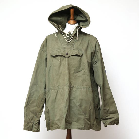 Vintage 1970's Military Green Canvas Anorak Military