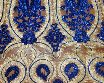 1 Yard Blues&Gold Sequin Fabric,Sequins Embroidered on Beige Mesh-2 Way Stretch,,Wedding Dres Fabric,