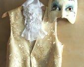 Victorian Costume Elegant Gold Vest with lace jabot, Renaissance sleeveless jacket, Jack Sparrow, toddlers prince dress boho flower girl