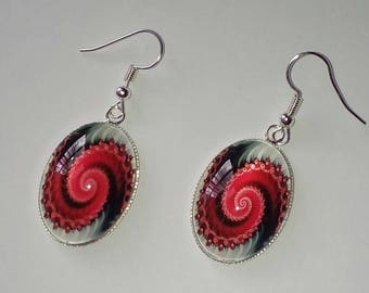 Red glass swirl earrings