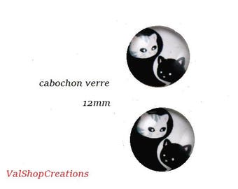 X 2 Duo cat 12mm glass Cabochons