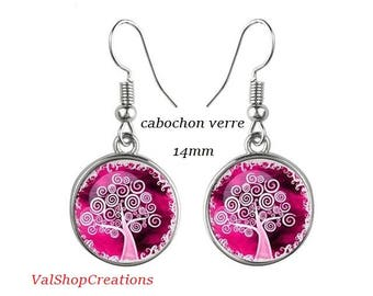 Tree of life glass cabochon earrings 14mm