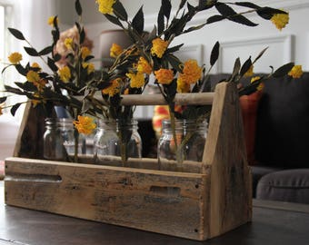 Old wood tool caddy center piece