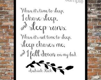 SLEEP RUNS AWAY, Prose, Insomnia, Naps, Can't sleep, print, Typography, words, art, prose, Andriah Rich