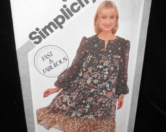 Womens Pullover Dress Simplicity 5161 Misses Pullover Smock Dress Size 10 Sewing Pattern
