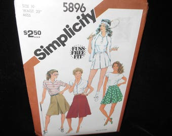 Misses Culottes Simplicity 5896 Womens Size 10 Culottes 4 lengths