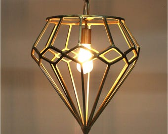 Gold Diamond Shape Pendant Chandelier Light Fixture Ceiling Mount