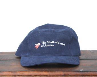 Vintage 90's Medical center Of Aurora Healthcare Hospital Medicine Doctor Strapback 5 Panel Hat Baseball Cap